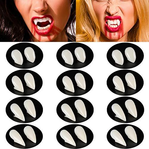 12 Pares Dientes de Vampiro de Halloween Colmillos de Vampiro Dentaduras Falsas de Disfraz para Suministros de Fiesta de Disfraces de Halloween (13 mm, 15 mm, 17 mm, 19 mm)
