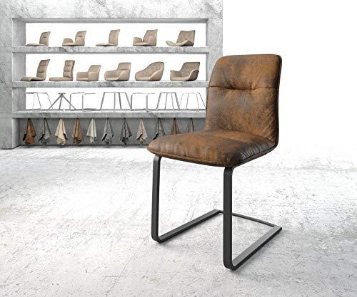 DELIFE Stuhl Vinjo-Flex Freischwinger flach schwarz Vintage Braun