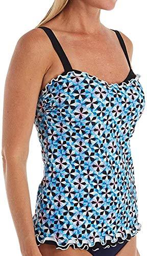 Profile by Gottex Women's Lettuce Ruffle Sweetheart Cup Sized Tankini Top Swimsuit, Pin Wheel Multi Blue, 34D