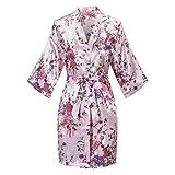 Old-to-new Women's Floral Short Kimono Robe Bride Bridesmaid Satin Nightgown Bathrobe Baby Pink