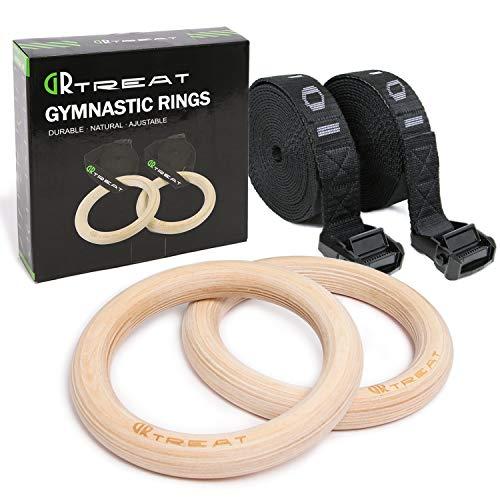 Gym Ringe Turnringe Holz, 28mm/32mm Gymnastikringe Verstellbaren Langen Buckles Straps, Ideal für Training, Heimgymnastik, Bodybuilding, Klimmzüge und Dips, Erwachsene Kinder Männer Frauen (DIA 32MM)