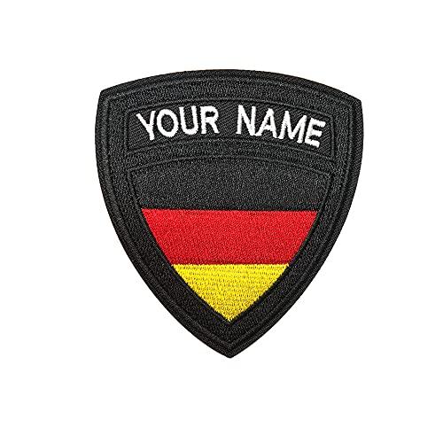 Benutzerdefinierte taktische militärische Namensaufnäher, personalisierte Stickerei Namensschild, Deutschland Flagge Eisen auf / Haken undSchleife Namensaufnäher für mehrere Kleidung Taschen Arbeitshemd