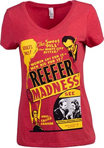 Reefer Madness (1936 Poster) | Funny Absurd Vintage Drug War Marijuana Weed Pot Propaganda Women's V-Neck T-Shirt -(Vneck,M) Red Heather