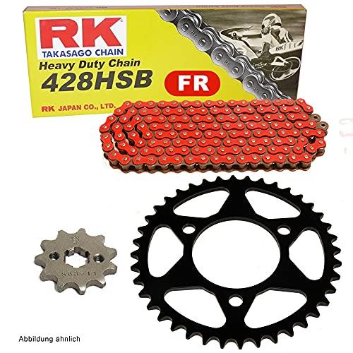 Juego de cadena adecuado para Rieju RS-2 Naked 125 05-10, cadena RK FR 428 HSB 130, abierto, color rojo 14/46