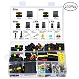 jabtraxx 240Pcs Car Wire Connector Plug Kit Waterproof Motorcycle Auto Electrical Wire Connector Terminal Plug 1 2 3 4 5 6 Pin with 5-30 Fuses Assortment Kit for Car, Motorcycle, Truck, Boat