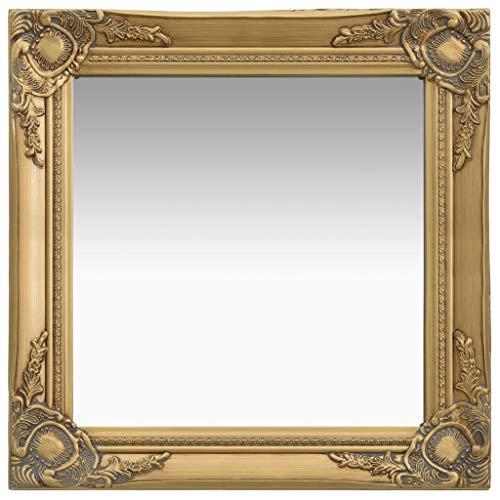 vidaXL Espejo de Pared Estilo Barroco Rectangular Colgante Armario Baño Antiguo Retro Consumo de Maquillaje Decoración Hogar Dorado 50x50 cm