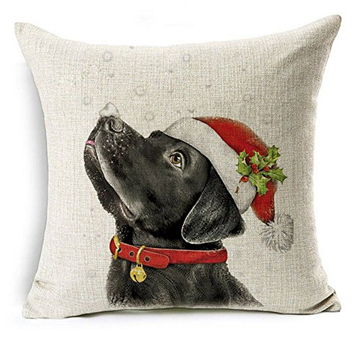LYNZYM Cotton Linen Sofa Pillowcover Decorative Cushion Cover 18'X 18' Throw Pillow Covers Home Decor Christmas Pillow Christmas Dog (4)