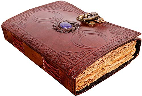 leather bound journal for women men book of shadows blank spell witch dnd notebook triple moon grimoire unlined deckle edge paper vintage journals lock old books antique stone travel sketchbook 7 inch