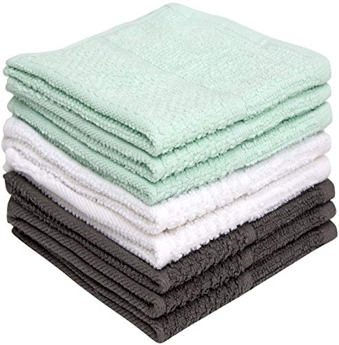 """Pleasant Home Dishcloths 12""""x12"""" 8 Pack – Cotton Kitchen Dish Cloths – Textured Solid Dyed – 350 GSM Highly Absorbent Dish Cloth Set – Aqua"""