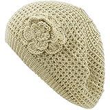 an Crochet Hats for Women Beanie Cap Beret Knit Flower Beige Teens Girls
