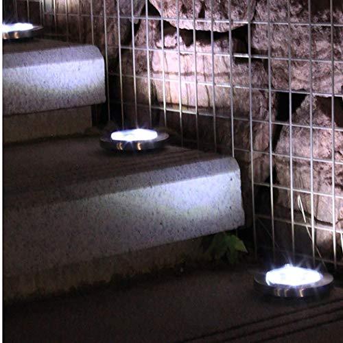 Fandazzie Luces solares subterráneas de 8 LED para Exteriores Luces para jardín de césped Iluminación de Caminos