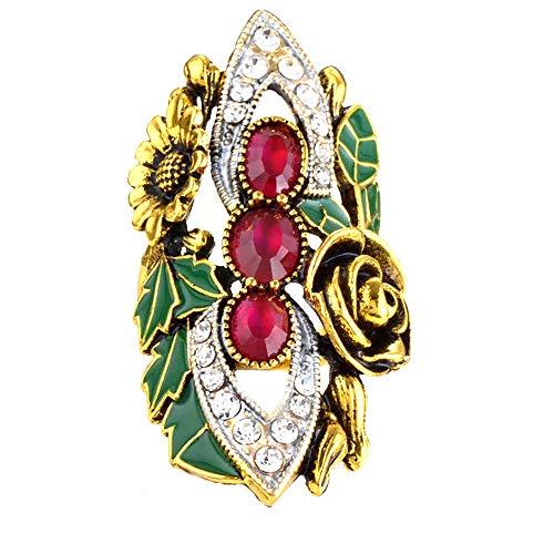 Anillo de cóctel chapado en oro antiguo de cristal chapado en oro vintage colorido esmalte anillos de boda mosaico rojo resina dedo anillos para mujeres joyería (9)