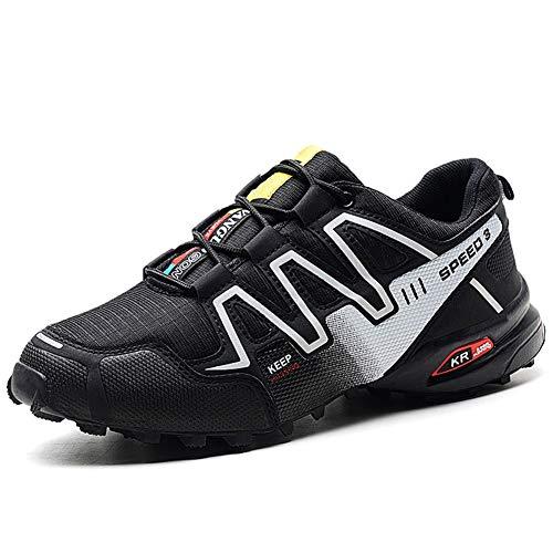 GBZLFH Chaussures de course pour hommes, chaussures de randonnée en plein air, chaussures de plage antidérapantes à semelle souple, adaptées à la course en camping et au fitness,Black and white,48