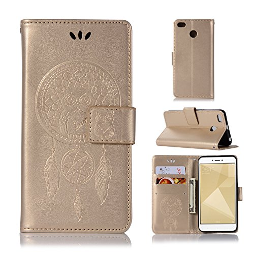 BCIT Xiaomi Redmi 4X Funda - [Patrón de búho] Carcasa Libro de Cuero Con Tapa y Cartera, Carcasa PU Leather Con TPU Silicona Case Interna Suave para Xiaomi Redmi 4X - Oro