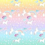 Lona impresa de unicornios con purpurina y colores pastel para crear plantillas y otras manualidades