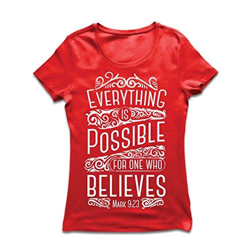 Camiseta Mujer Jesucristo: Todo es Posible para quien cree: religión Cristiana, fe,...