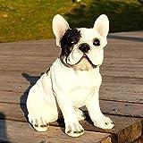 KKONION Lifelike Realistic French Bulldog Statue Resin Animal Garden Statues Lovely Dog Puppy Figurines for Yard Lawn