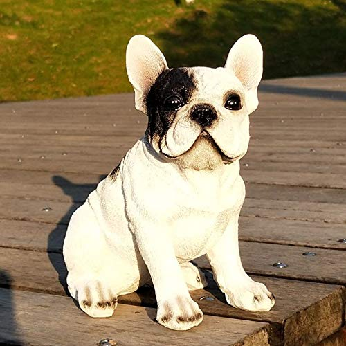 KKONION Lifelike Realistic French Bulldog Statue Resin Animal Garden Statues Lovely Dog Puppy Figurines for Yard Lawn