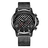 BREAK Calendario cronógrafo Relojes Impermeable Unique Creative Reloj Deportivo de Cuarzo Black Geeks Relojes para Hombres (Rojo)
