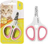 OneCut Pet Nail Clippers, Update Version Cat & Kitten Claw Nail Clippers for Trimming, Professional Pet Nail Clippers Best for a Cat, Puppy, Kitten & Small Dog (Pink)