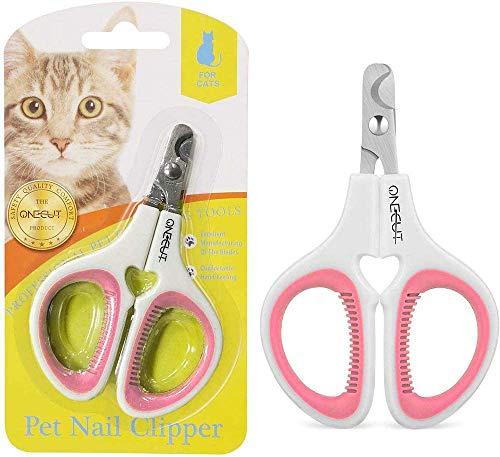 OneCut Professionelle Hundenagelknipser mit Schutz, Sicherheitsschloss und Nagelfeile,Nagelknipser für Haustiere, Klauen-Nagelknipser zum Trimmen am besten Katzen, Welpen, Kätzchen kleine Hunde (Rosa)