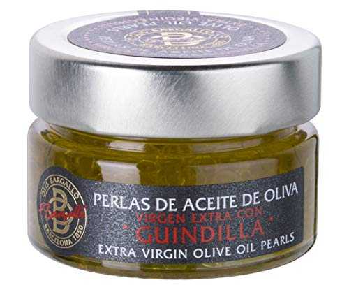 Perlas de Aceite de Oliva Virgen Extra con Guindilla 50 gr Olis Bargalló en vidrio