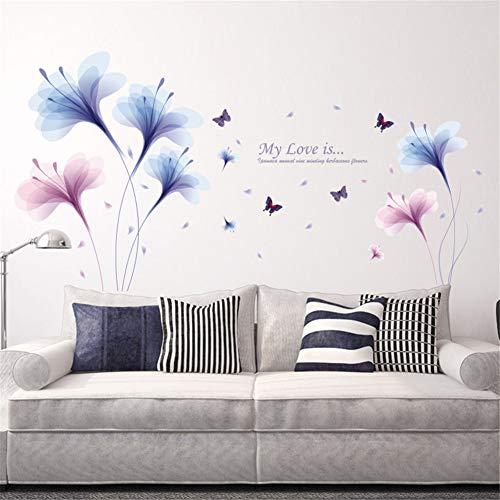 Nicole Knupfer Orchidee Schmetterlinge Wandtattoo Wandaufkleber Blumen Wandsticker Wand Aufkleber für Wohnzimmer Schlafzimmer Kinderzimmer
