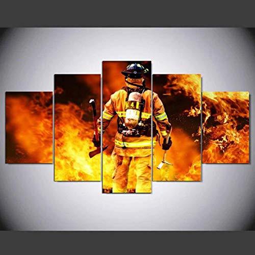 GIAOGE Gemälde Dekoration Poster Bild Leinwand Wandkunst Home 5 Modulare Feuerwehr Panel Wohnzimmer Moderne Gedruckt Hd Malerei Gerahmt,40x60 40x80 40x100cm,No Frame