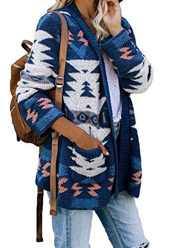 Sidefeel - Cardigan da donna aperto sul davanti, lavorato a maglia, con tasche - - S