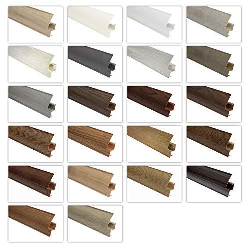 LEMAL Sockelleisten und Zubehör - PVC Fußleisten 65x23mm mit Kabelkanal - (1 Innenecke, 0102 Holzoptik grau-beige) Kabel Sockelleistenkanal