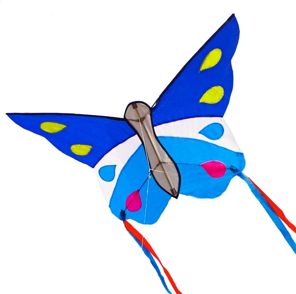 Besra Huge Butterfly Kite Single Line Easy to Fly Insect Nylon Kite with Handle /& Strings for Kids /& Adults
