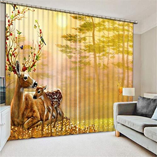 Cortinas Opacas - Impresión 3D Ciervos del Bosque Y Ciervos Bebé - Cortinas con Ojales - Reducción de Ruido de Aislamiento, 180(H) X125(An) Cmx2 Paneles/Set