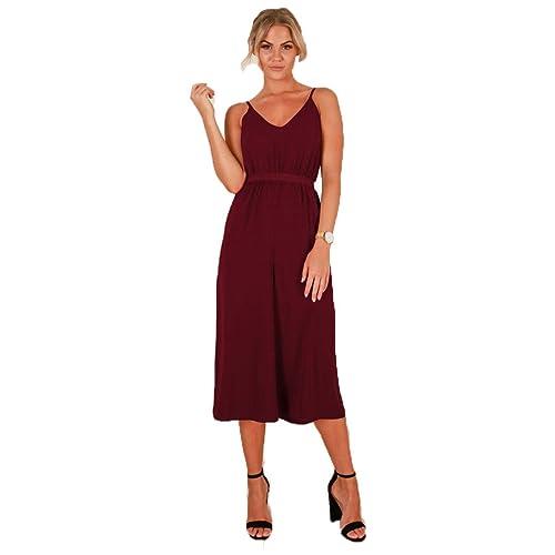 f144a1cf687 Longwu Women s Casual V-Neck Spaghetti Strap Sleeveless Wide Leg Jumpsuit  Rompers with Belt