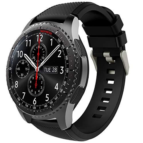 TiMOVO Correa de Reloj Deportivo Compatible con Samsung Galaxy Watch 3 45mm, Banda de Silicona Compatible con Huawei Watch GT2 Pro/GT 2e/GT 46mm/GT2 46mm/Ticwatch Pro 3 - Negro