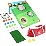 Backyard Golf Cornhole Game Set, Exercise N Play Portable Golf Training Set with Balls Target Net Hitting Mat and Carry Bag for Kids and Adult