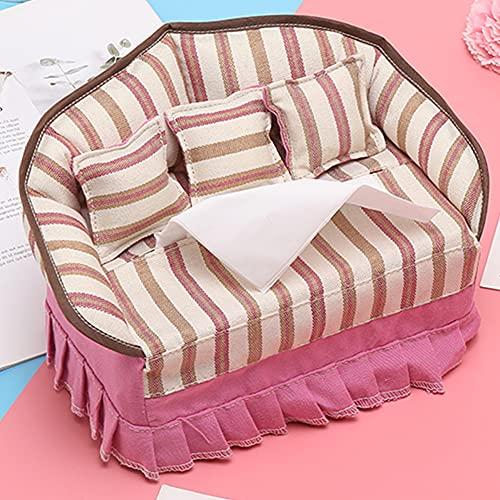 Soporte multifunción para caja de pañuelos, creativo servilletero de tela para sofá con 3 almohadas pequeñas a juego, caja de almacenamiento de pañuelos para el hogar, decoración de dormitorio,C