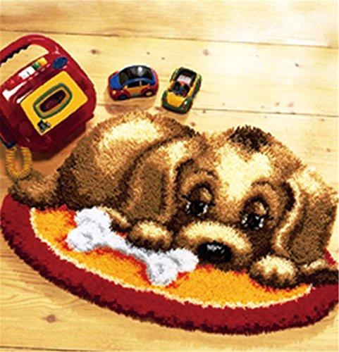 Beyond Your Thoughts 6 Modell Hund Knüpfteppich Formteppich für Kinder und Erwachsene zum Selber Knüpfen Teppich Latch Hook Kit Child Rug Dog010 50 by 38 cm