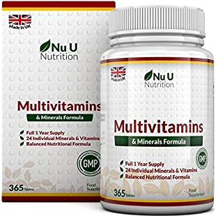 Customer reviews Multivitamins & Minerals Formula - 365 Tablets (Up to 1 Year Supply) - 24 Multivitamins with Iron and Minerals for Men and Women, Multivitamin Tablets Suitable for Vegetarians by Nu U Nutrition:Isfreetorrent