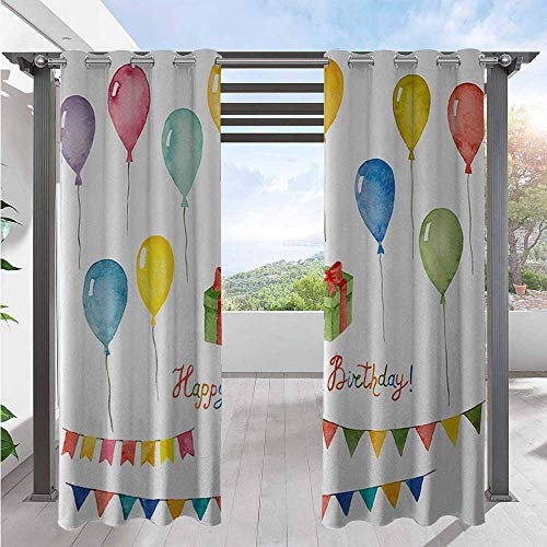 Outdoor Curtain Watercolor Set for Celebration Flags Surprise Box Balloons and Happy Best Wishes Indoor Outdoor Deck Curtain for French Door Porch Pergola Cabana Sun Room Deck W84 x L96 Inch