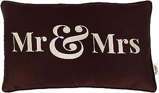 Vargottam EmbroideredMr & MrsLumbar Decorative Throw Pillow Cover Lumbar Pillow Cover Farmhouse 12x20 Inches