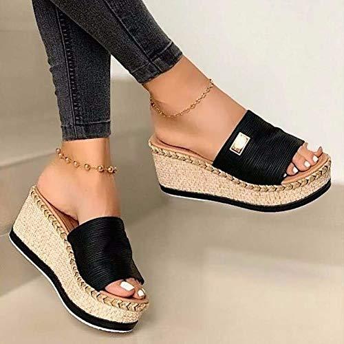 Women's Platform and Wedge Sandals Casual Summer Heels Open Toe Sandals Summer Slides Slippers6-Black