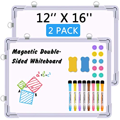 """2 Pack Small Dry Erase White Board, 12"""" X 16"""" Magnetic Hanging Double-Side Whiteboard for Wall - 8 X Dry Erase Markers, 10 X Magnets, 2 X Erasers, Mini Portable Easel Board for Kids Home School Office"""