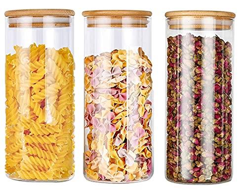 AiNiViO Tarro de Vidrio de Almacenamiento, 3Pcs 950ML Tarros de Cristal con Tapa & Anillo de Sellado, Botes Hermético Cocina Recipientes para alimentos, Cristal sin plomo
