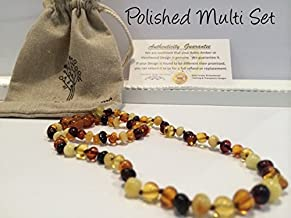 Teething Necklace 12.5 inches AND Bracelet 5.5 inches Baltic Amber for Babies (Unisex) (Honey Multi Cherry Black Red Milk White Butter Yellow Cognac Brown Turquoise Pink Quartz Amethyst Lemon) - Baby, Infant, and Toddlers will all benefit. Polished Anti Flammatory, Drooling & Teething Pain Reduce Properties - Natural Certificated Round Baroque Baltic Jewelry with the Highest Quality Guaranteed. Easy to Fastens with a Twist-in Screw Clasp Mothers Approved Remedies! (Polished Multi Set)
