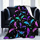Gaseekry Blanket Bright Bats Stars Fleece Flannel Throw Blankets for Couch Bed Sofa Car,Cozy Soft Blanket Throw Queen King Full Size for Kids Women Adults 80'X60'