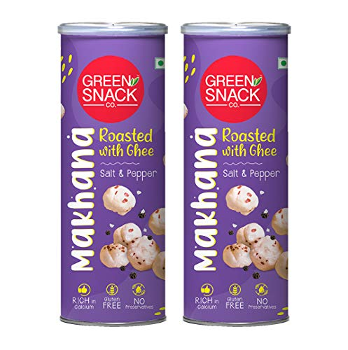 The Green Snack Co. Ghee Roasted Makhana - Salt & Pepper Flavour (Pack of 2, 65g Each)   100% Roasted Healthy Snack for Kids &...