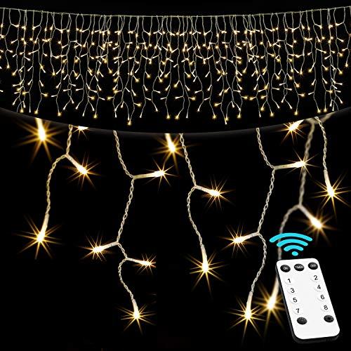 KESSER® Regenlichterkette Lichterkette inkl Fernbedienung - 8 Leuchteffekte - Timer - Dimmfunktion - In- & Outdoor Regenkette für Innen- und Außen Lichtervorhang Eisregen IP44 (Warmweiß, 200 LED\'s)