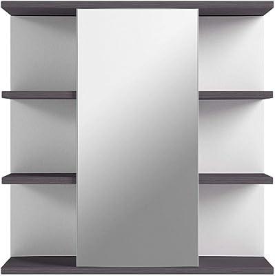 Trendteam Smart Living Placard avec Miroir pour Salle de Bain California, 60 x 60 x 20 cm, Blanc et Argenté Cendré, avec Beaucoup d'Espace de Rangement et des Compartiments Ouverts