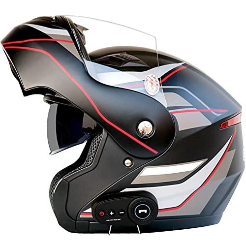 Bluetooth Casco Moto Modular Certificado ECE Cascos de Moto Integral Hombre Mujer con Doble Visera para Motocicleta Scooter, Casco Moto con Bluetooth Integrado ( Color : J , Size : (XL/61-62CM) )