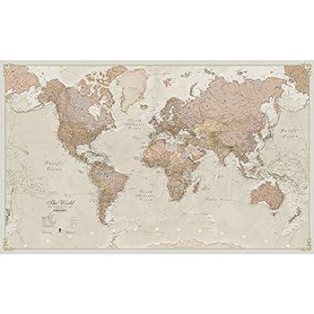 Maps International Giant World Map - Antique World Map Poster - Laminated – 46 x 77.5